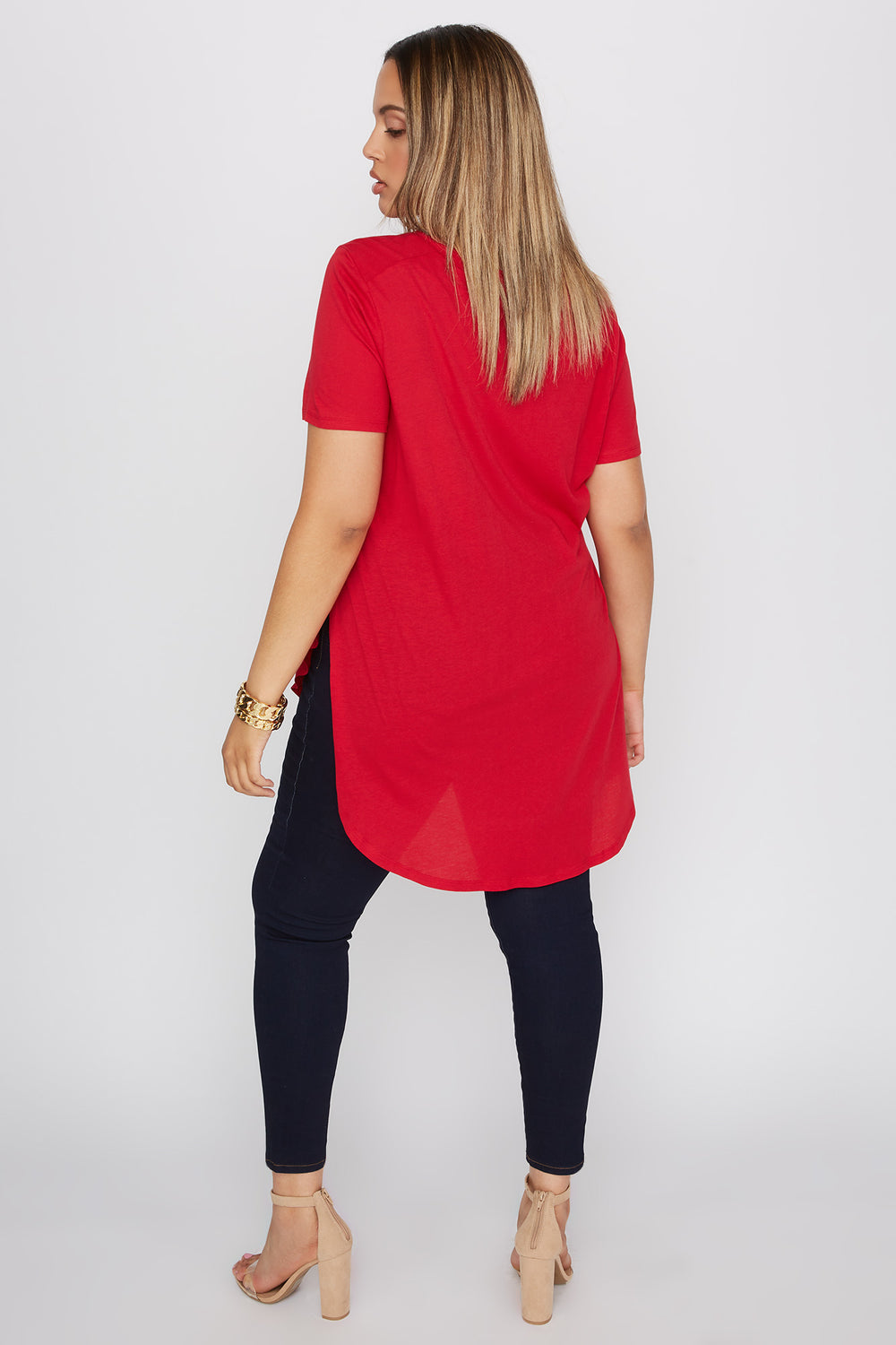 Plus Size Oversized Slit Dolphin T-Shirt Red