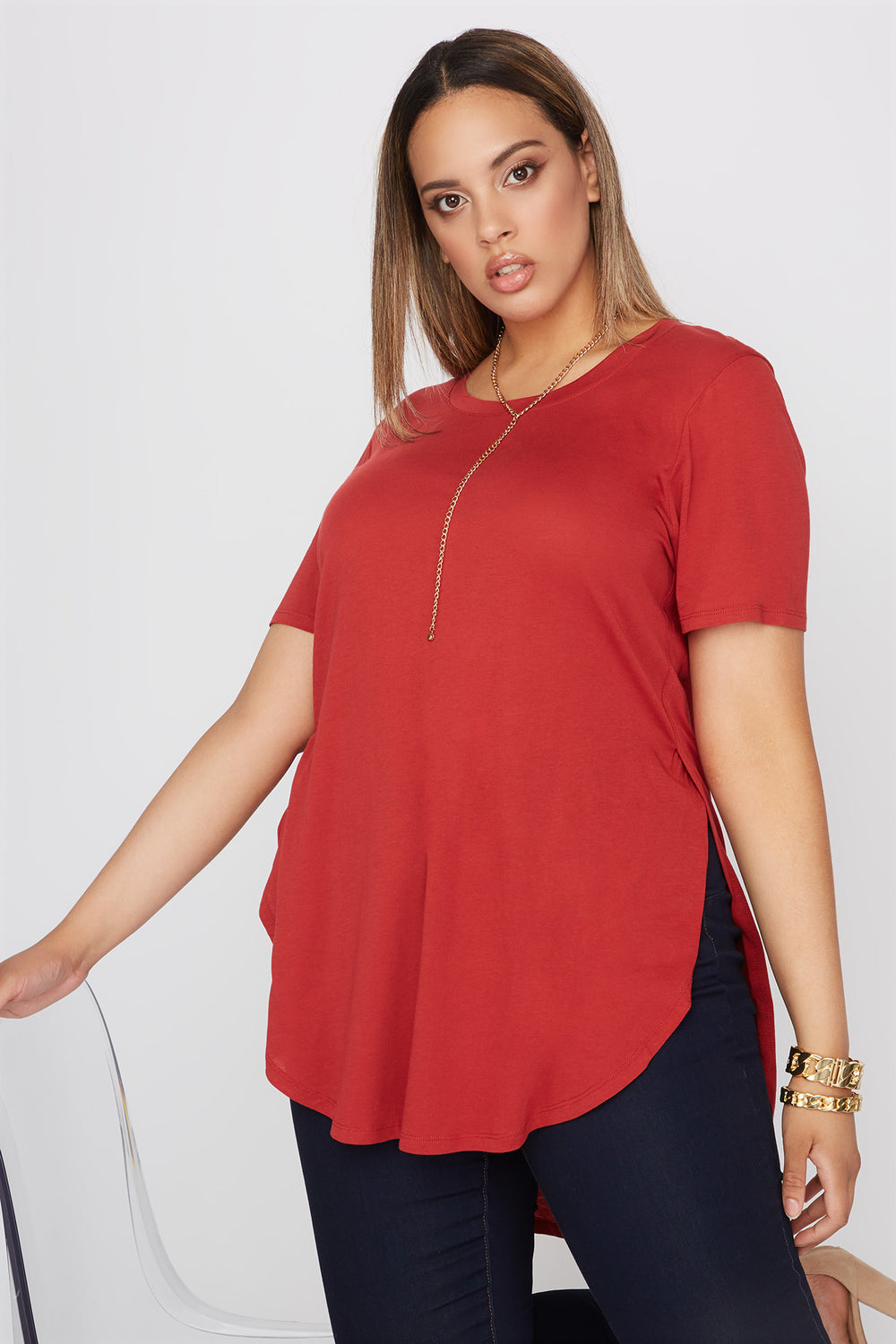 Plus Size Oversized Slit Dolphin T-Shirt Rust