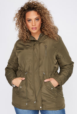 Plus Size Drawstring Sherpa Lined Hooded Anorak Jacket