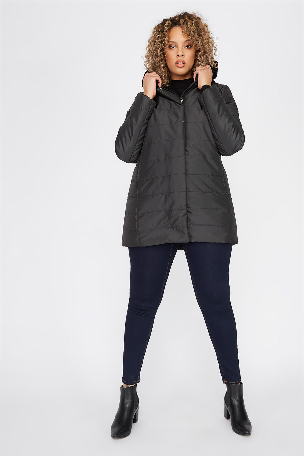 Plus Size Faux-Fur Trimmed Hooded Puffer Jacket Black