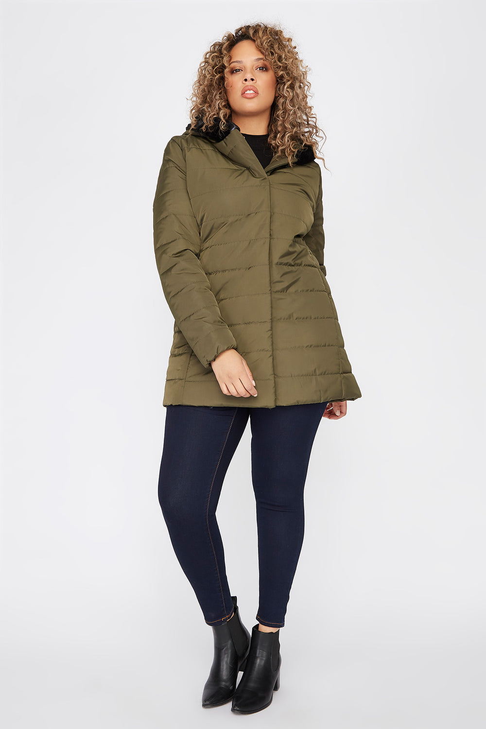Plus Size Faux-Fur Trimmed Hooded Puffer Jacket Green