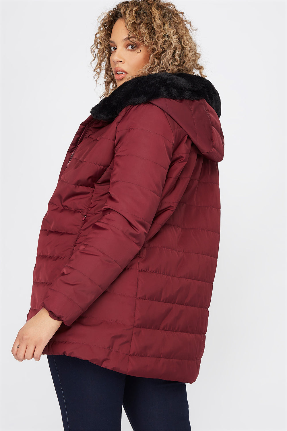 Plus Size Faux-Fur Trimmed Hooded Puffer Jacket Burgundy