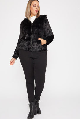 Plus Size Faux-Fur Zip-Up Hooded Bomber Jacket