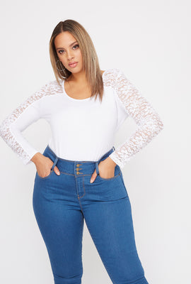 Plus Size Contrast Lace Long Sleeve