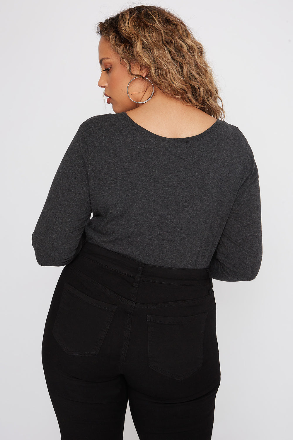 Plus Size Scoop Neck Long Sleeve Charcoal