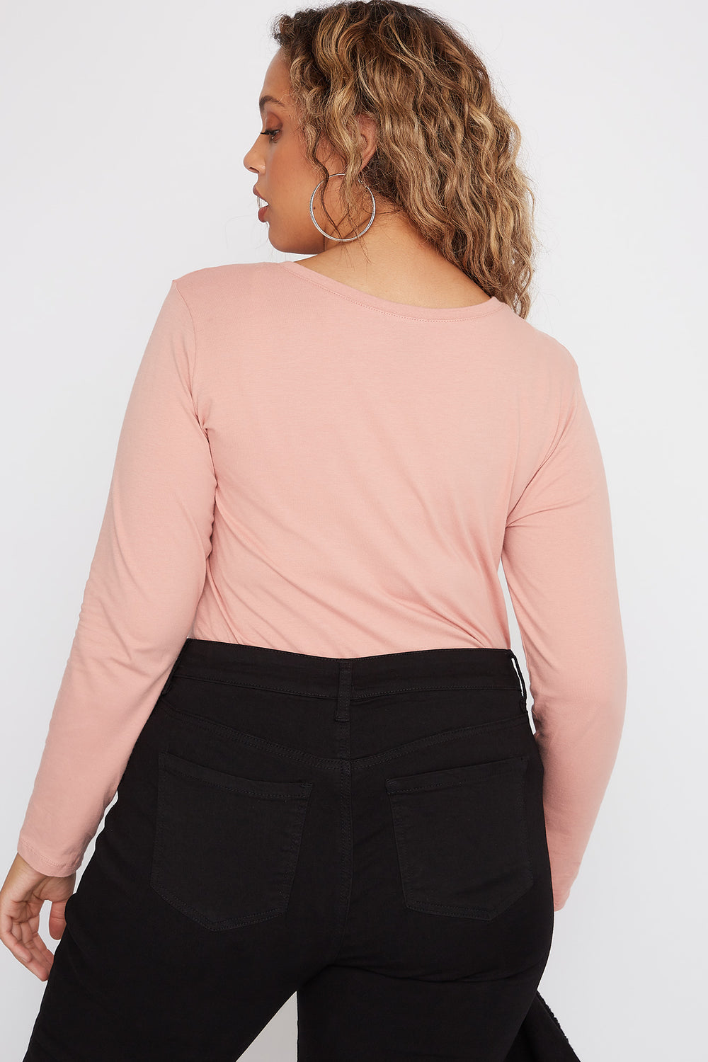 Plus Size Scoop Neck Long Sleeve Mauve