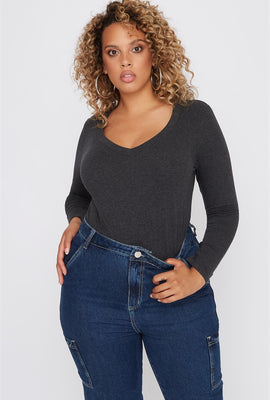Plus Size Basic V-Neck Long Sleeve