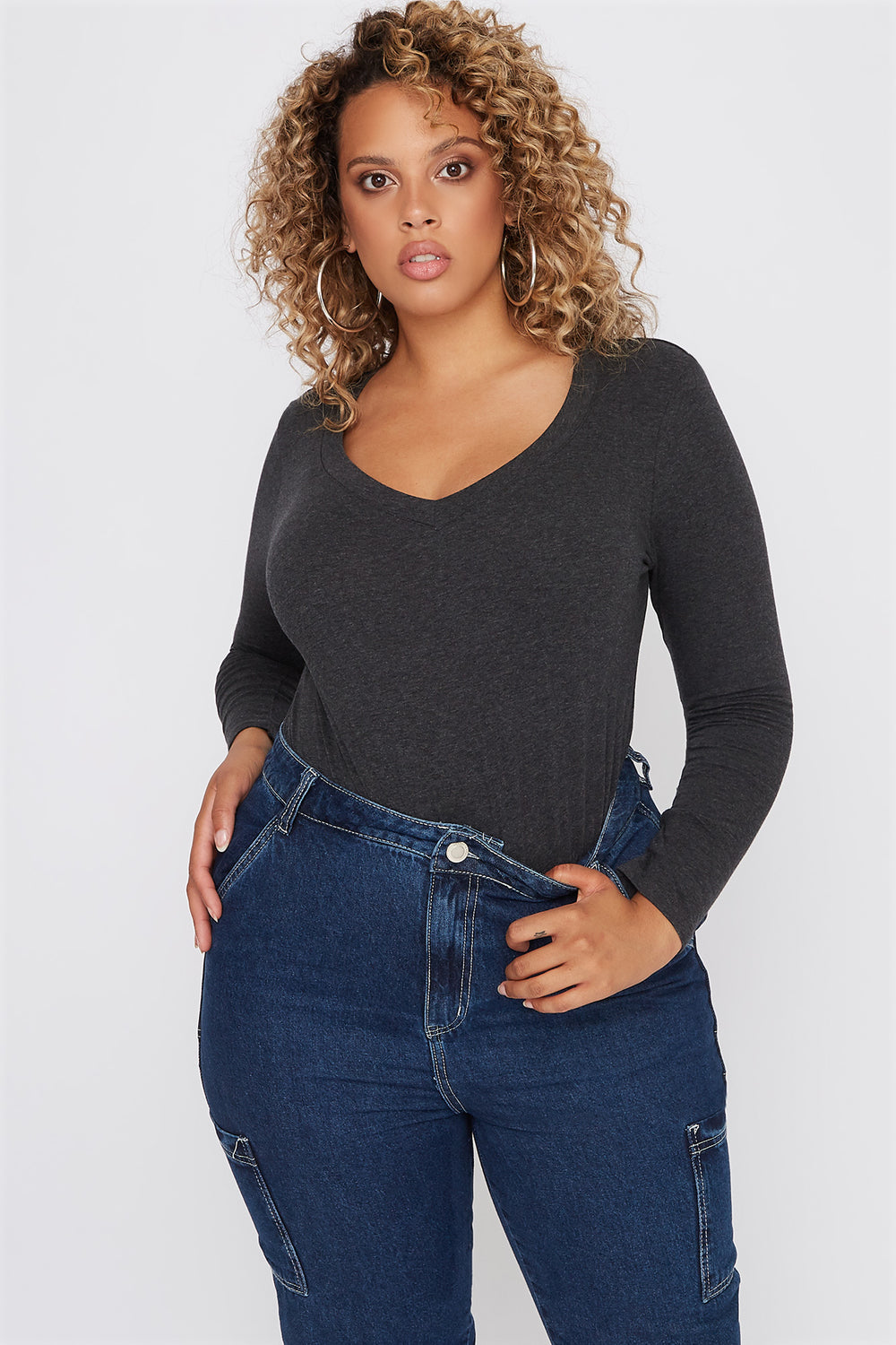 Plus Size Basic V-Neck Long Sleeve Charcoal