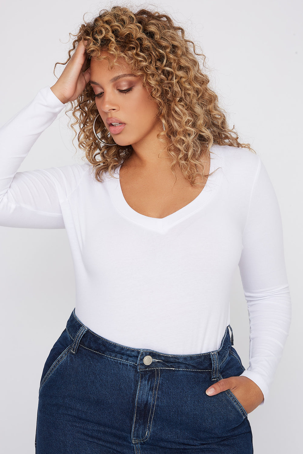 Plus Size Basic V-Neck Long Sleeve White