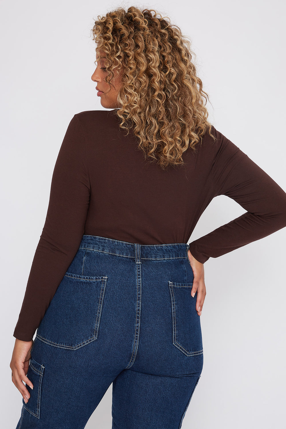 Plus Size Basic V-Neck Long Sleeve Brown