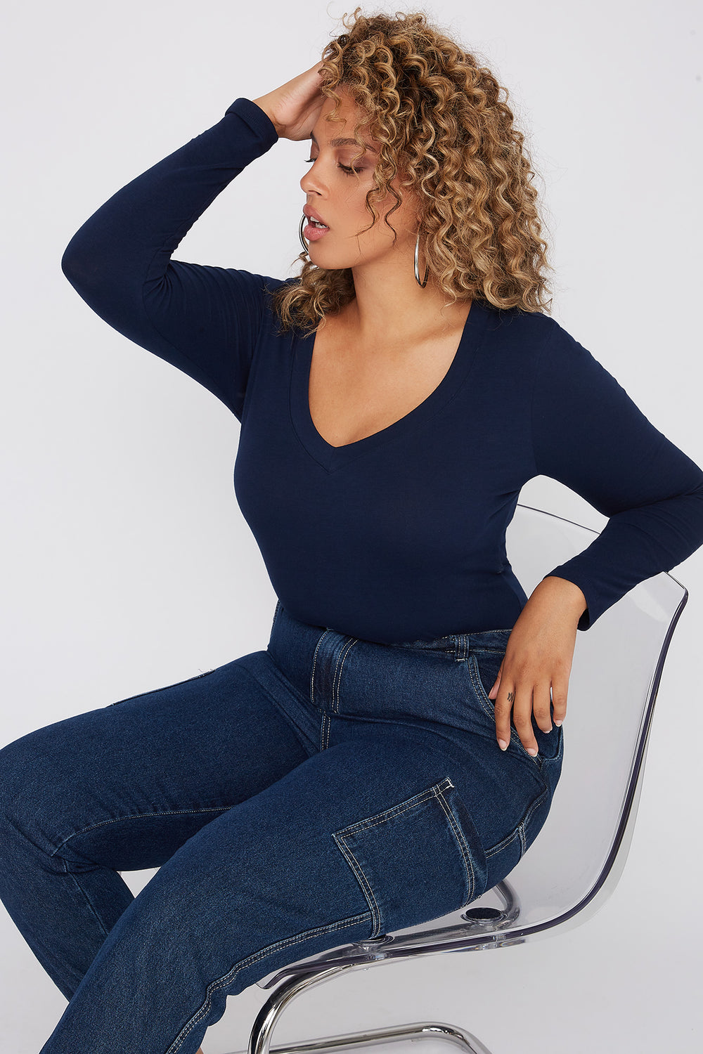 Plus Size Basic V-Neck Long Sleeve Navy