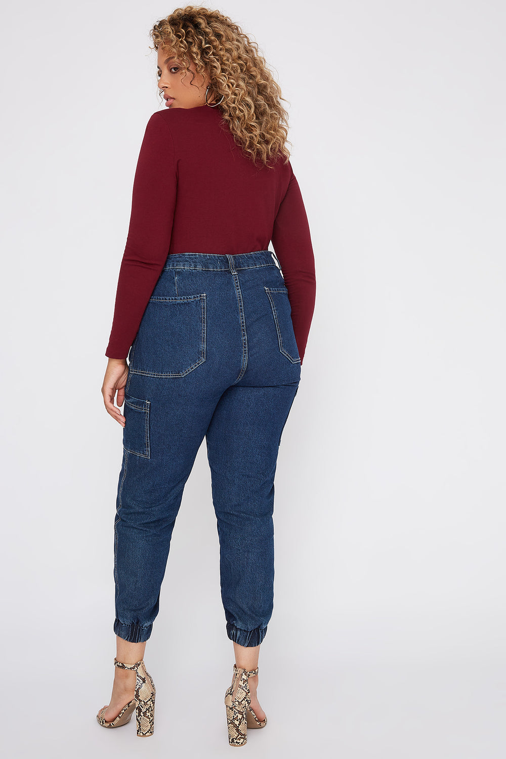Plus Size Basic V-Neck Long Sleeve Burgundy