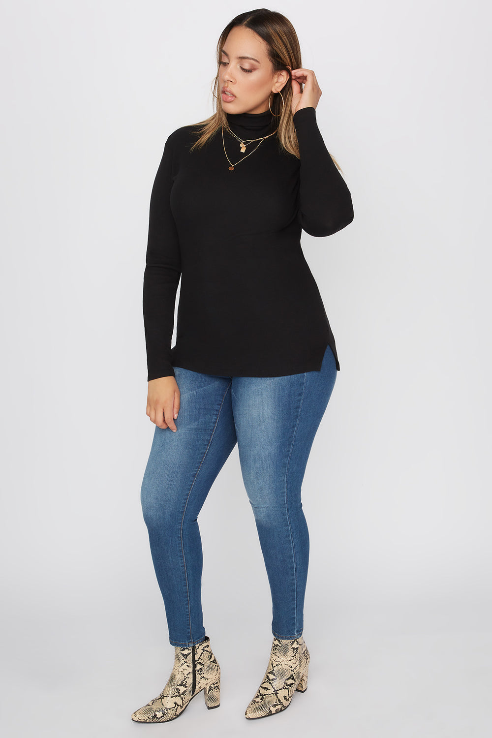 Plus Size Basic Ribbed Turtleneck Long Sleeve Top Black