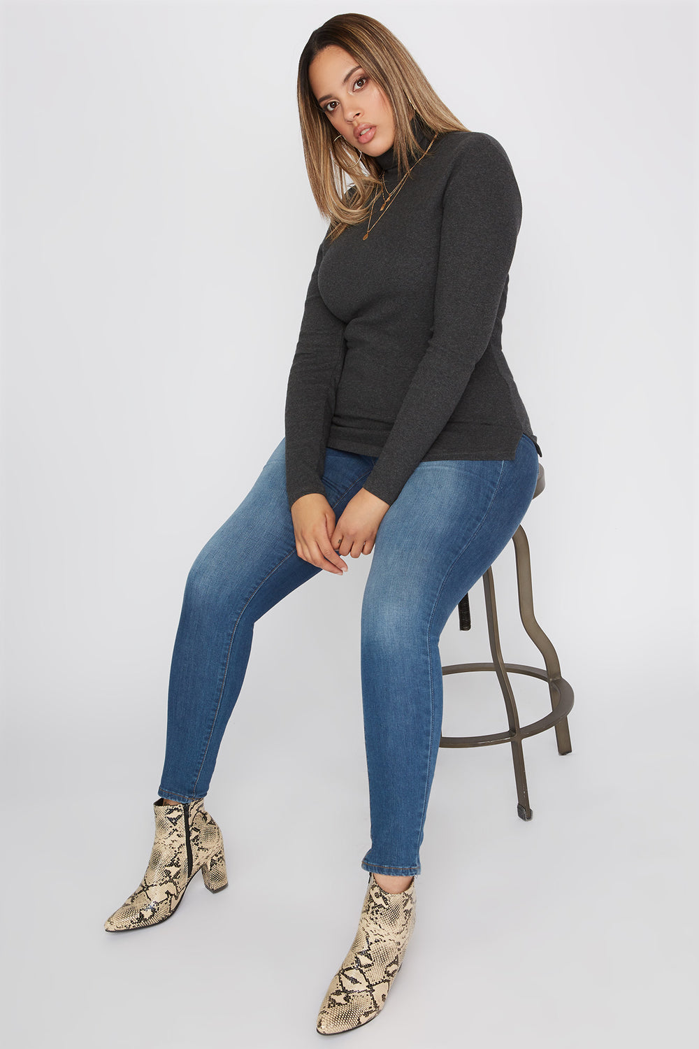 Plus Size Basic Ribbed Turtleneck Long Sleeve Top Charcoal