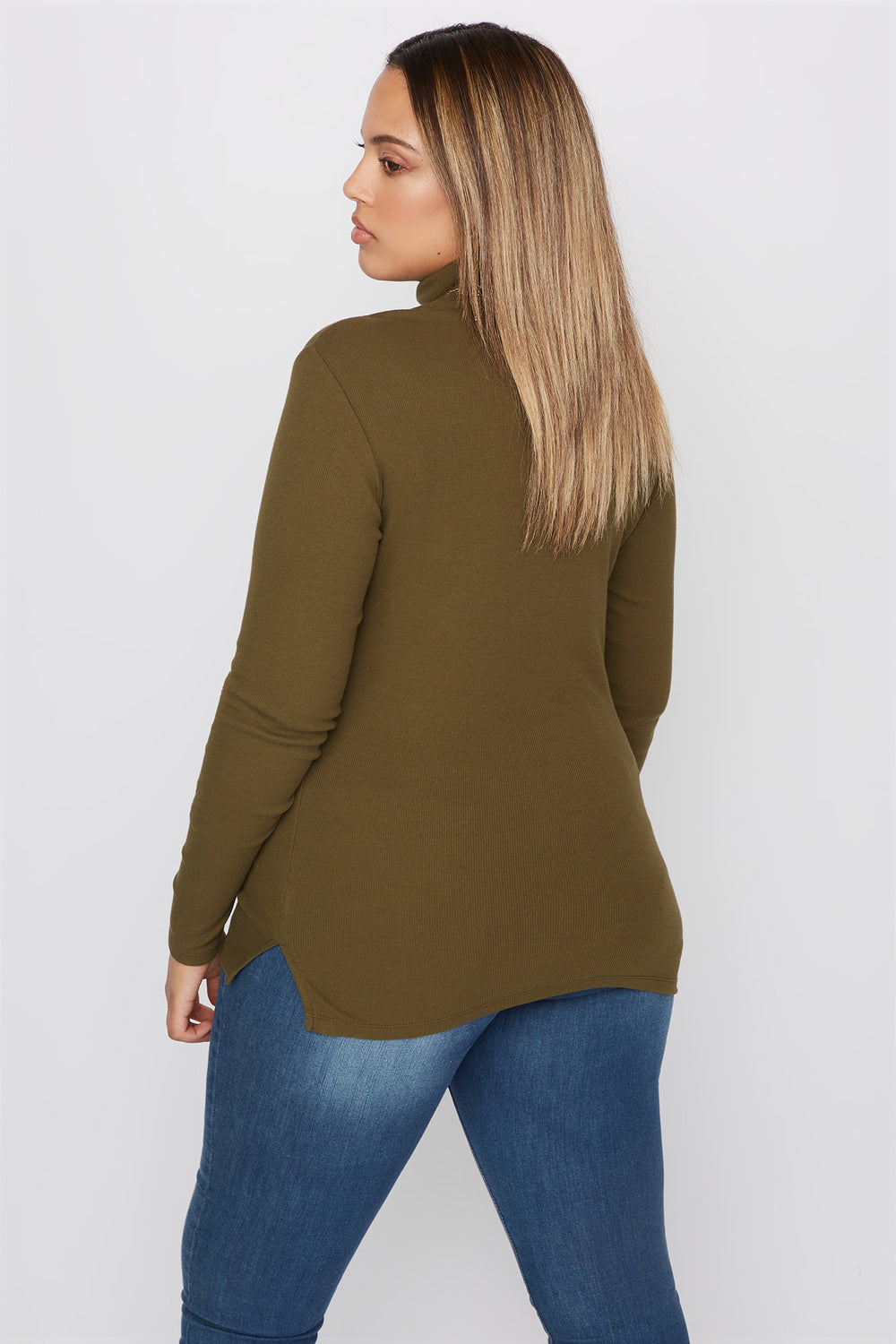 Plus Size Basic Ribbed Turtleneck Long Sleeve Top Green