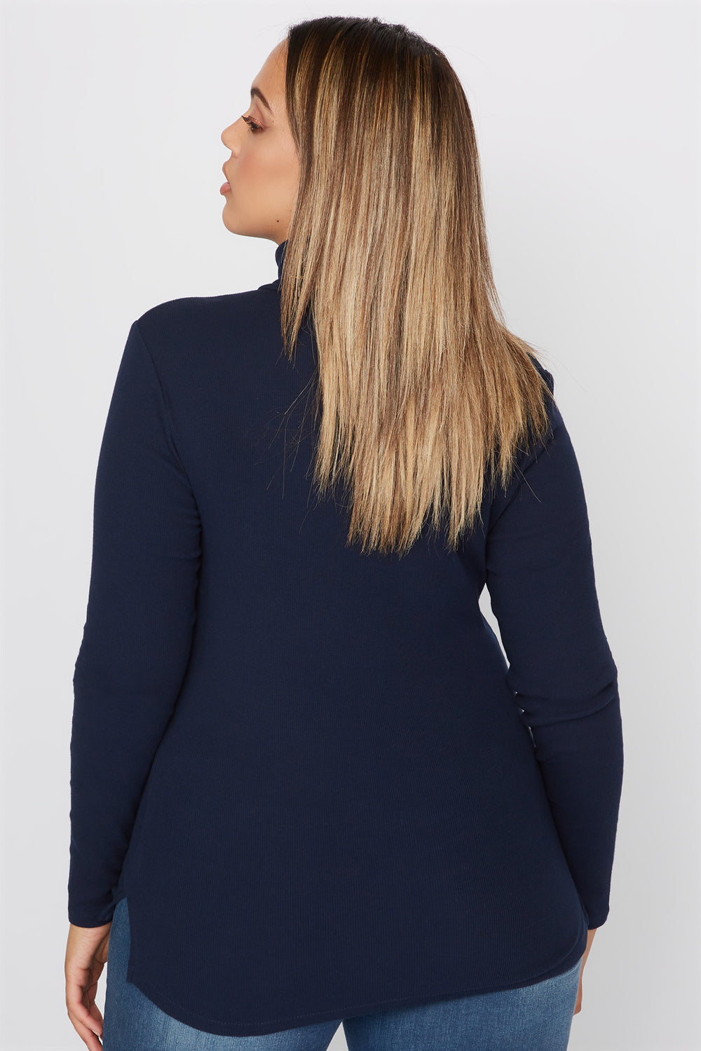 Plus Size Basic Ribbed Turtleneck Long Sleeve Top Navy