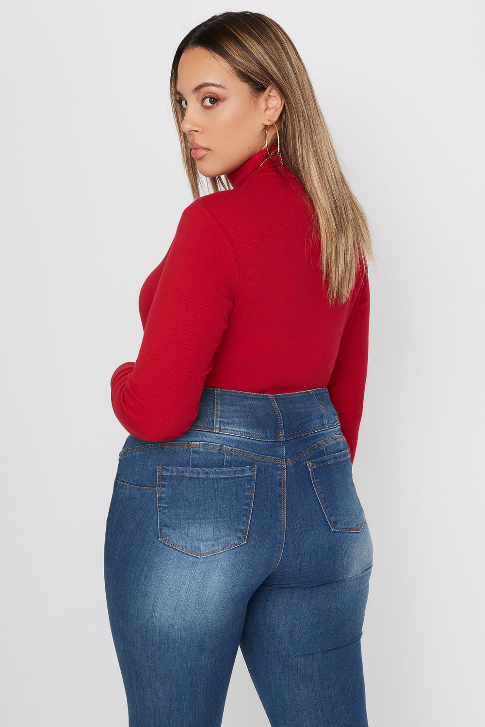 Plus Size Basic Ribbed Turtleneck Long Sleeve Top Red