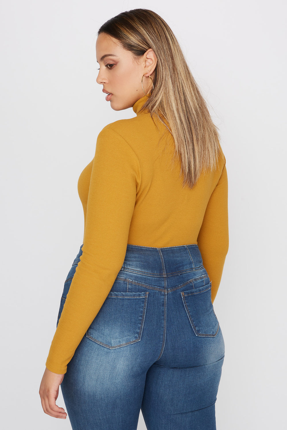 Plus Size Basic Ribbed Turtleneck Long Sleeve Top Mustard