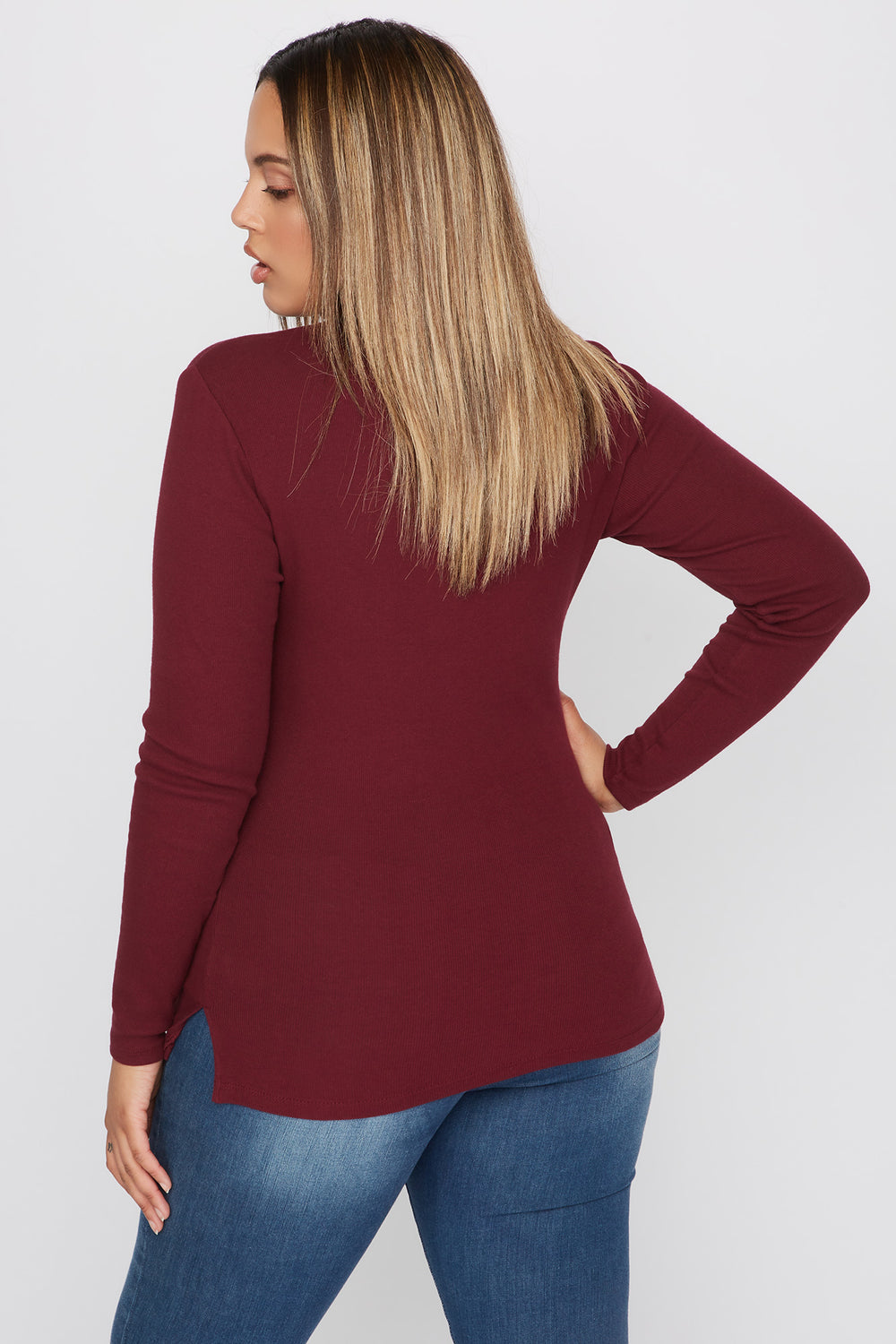 Plus Size Basic Ribbed Turtleneck Long Sleeve Top Burgundy