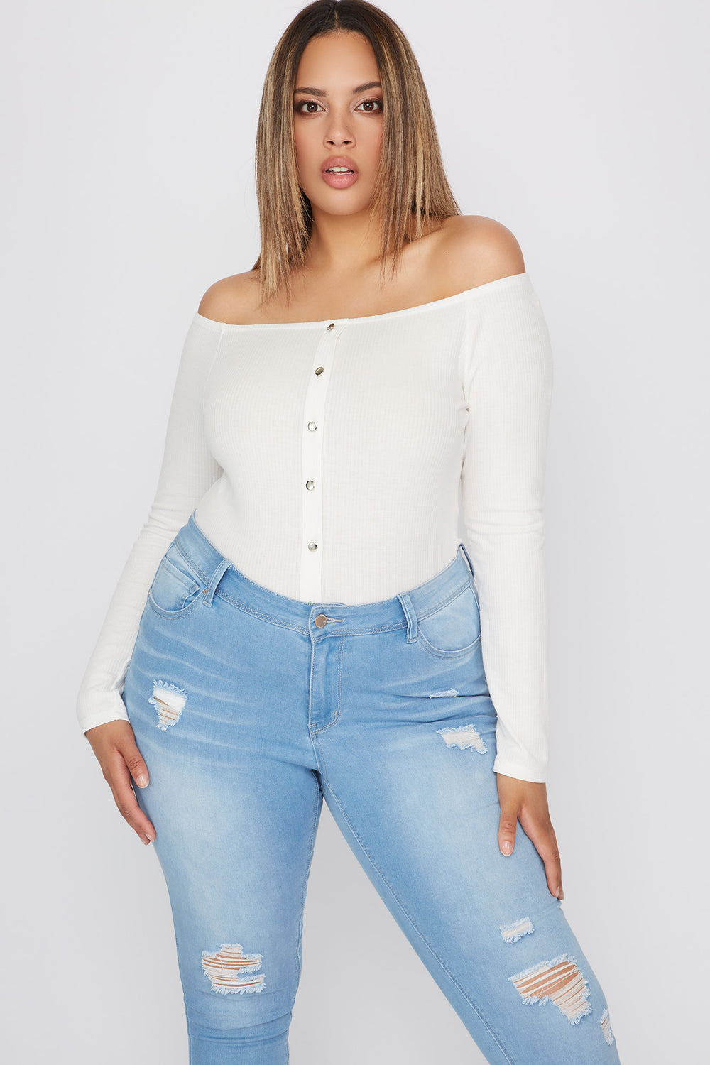 Plus Size Knit Off the Shoulder Button Long Sleeve Off White