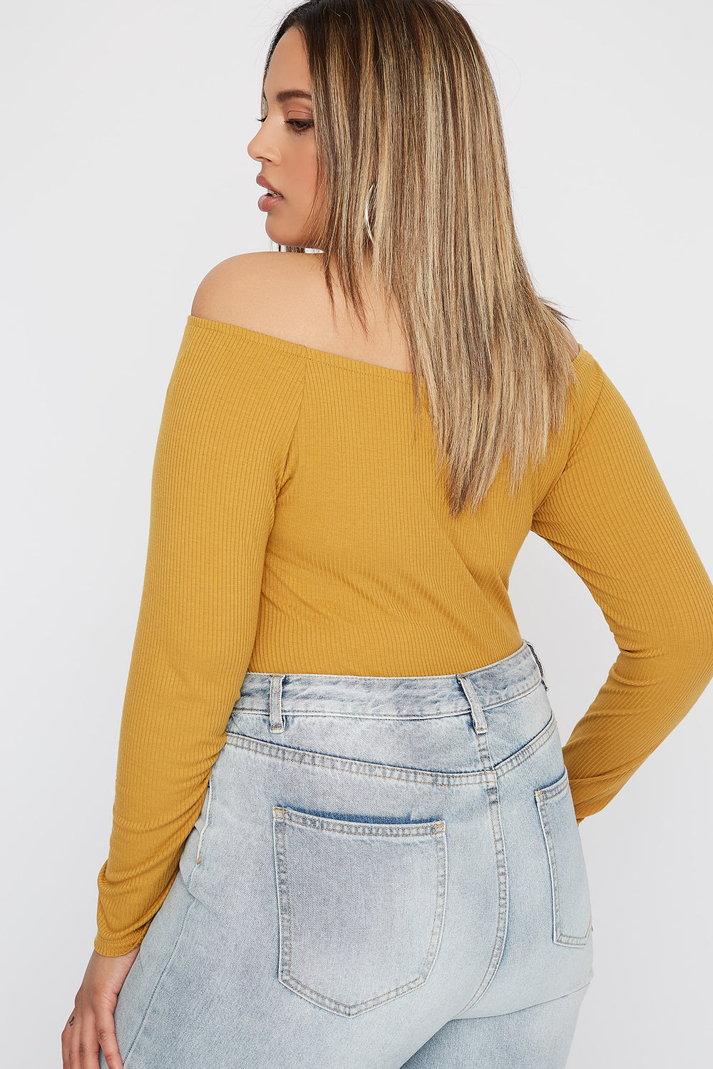 Plus Size Knit Off the Shoulder Button Long Sleeve Mustard