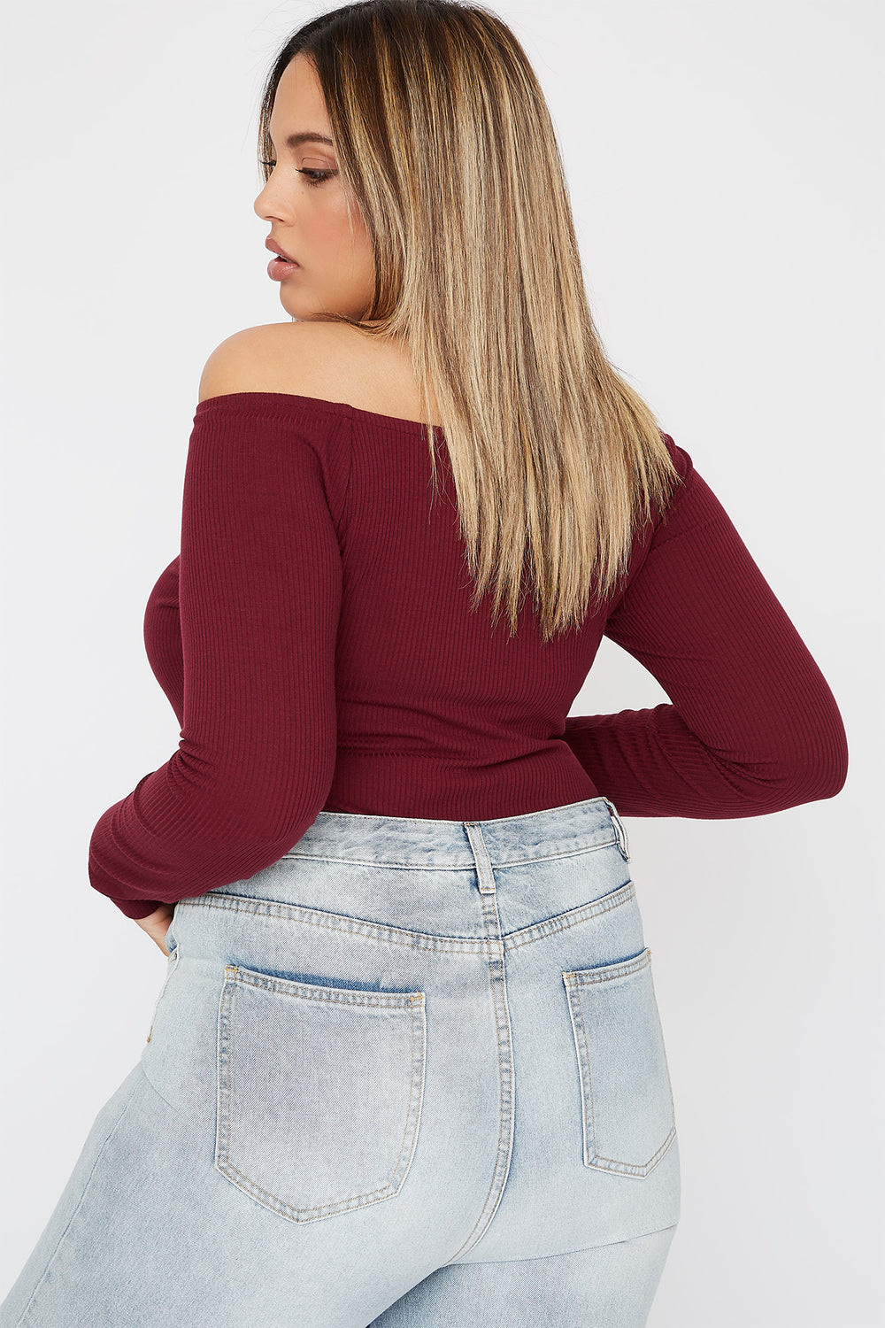 Plus Size Knit Off the Shoulder Button Long Sleeve Burgundy