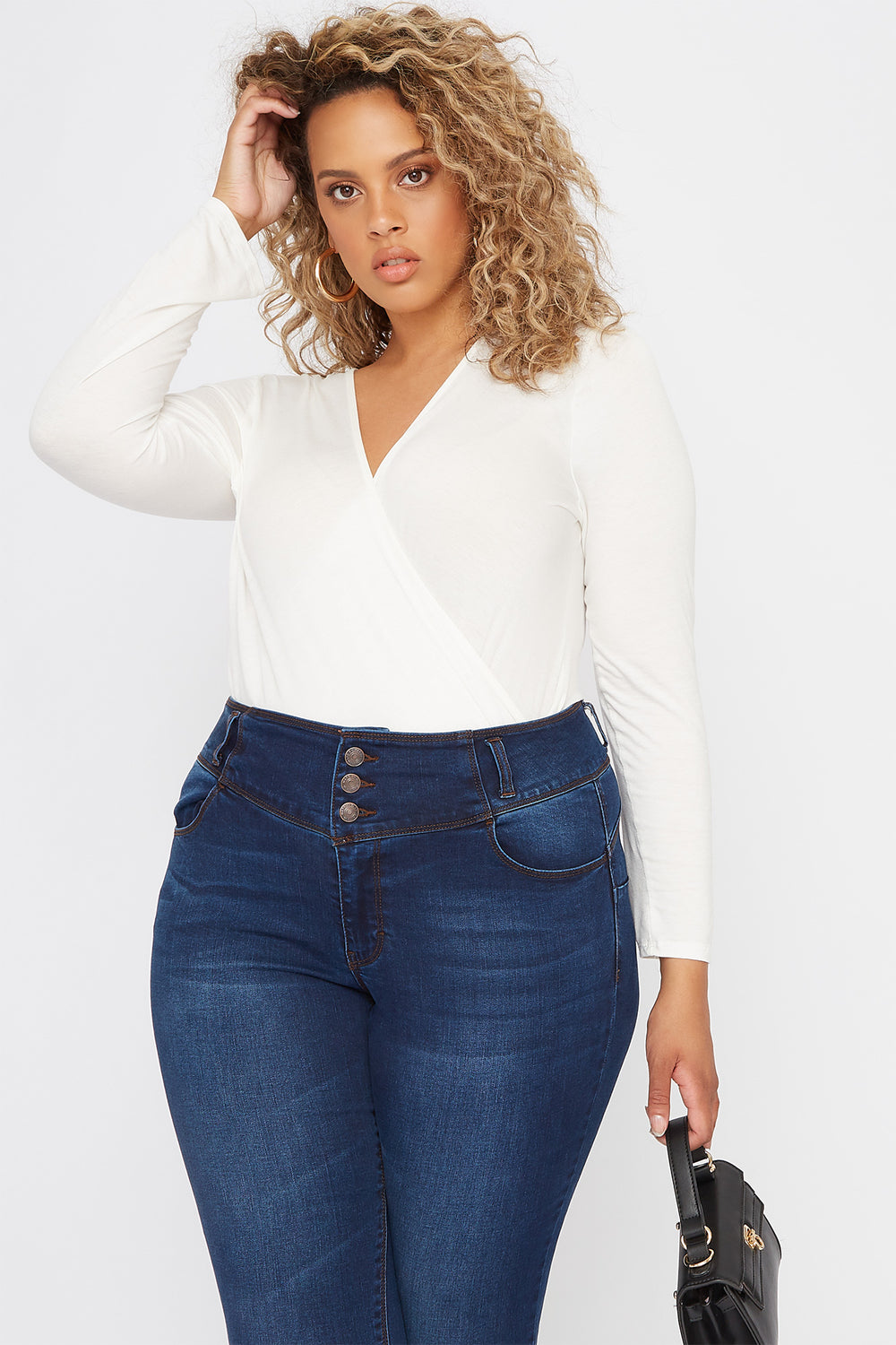 Plus Size V-Neck Wrap Long Sleeve Off White