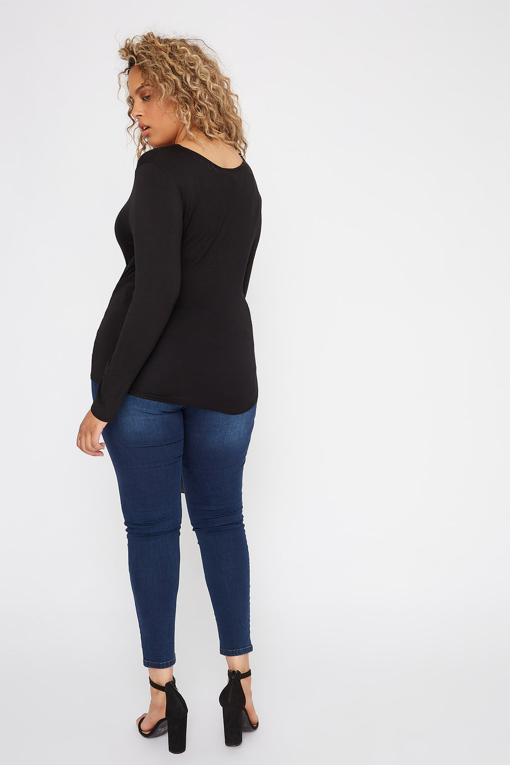 Plus Size V-Neck Wrap Long Sleeve Black