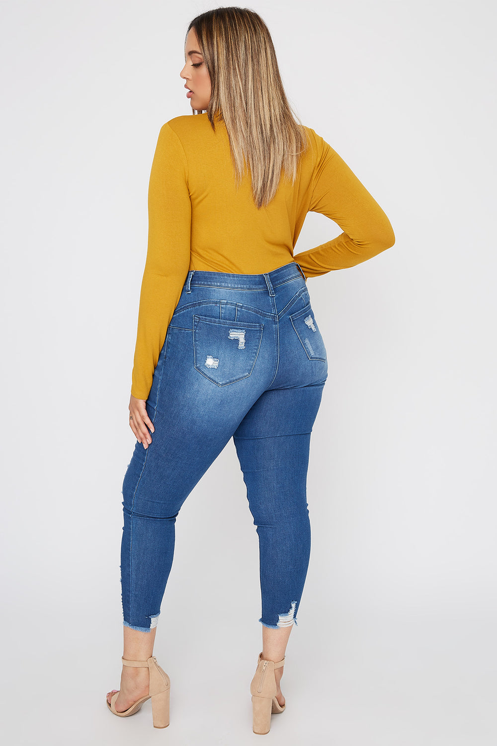 Plus Size Mock Neck Long Sleeve Mustard