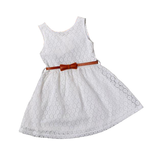 Cotton Lace Dress with Belt for Girls