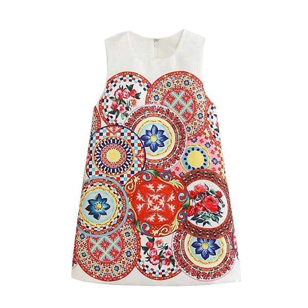 Colorful Folk Pattern Summer Girl's Dress