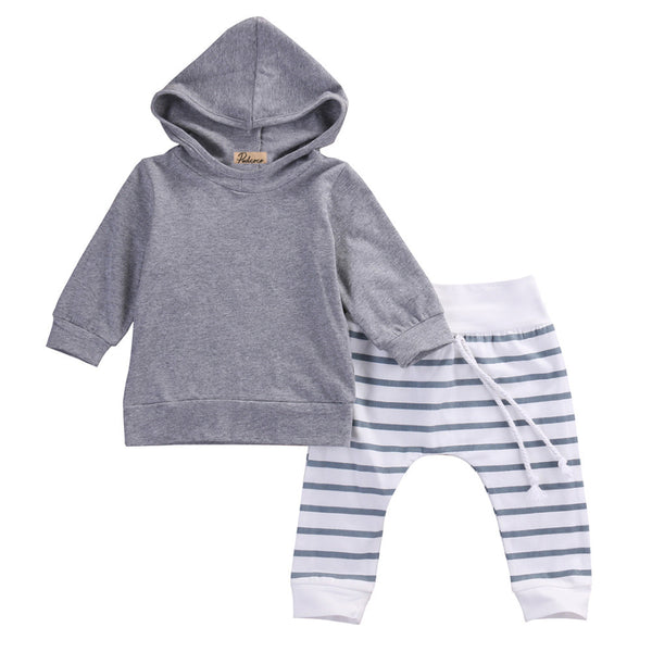 Long Sleeve Hooded Top and Pants Baby Set