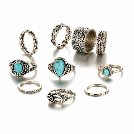 Vintage Boho Blue Stone Knuckle Ring Set - 10 Rings