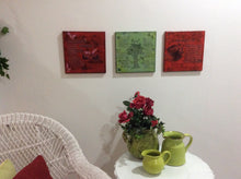 wall decor display of poempieces.com in red and spring green