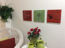 Wall decor featuring Invite Anger to Tea from poempieces.com in red