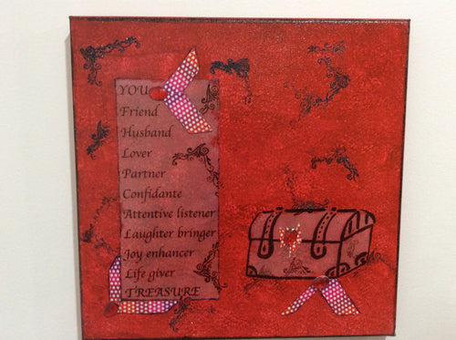 You an original poem on canvas from poem pieces.com in red that celebrates a spouse