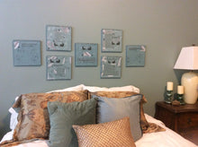 wall decor from poempieces.com featuring several pieces from the relationship collection in shadow teal