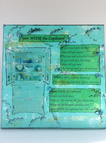Open Wide the Cupboard an original poem on canvas from poempieces.com in caribbean aqua