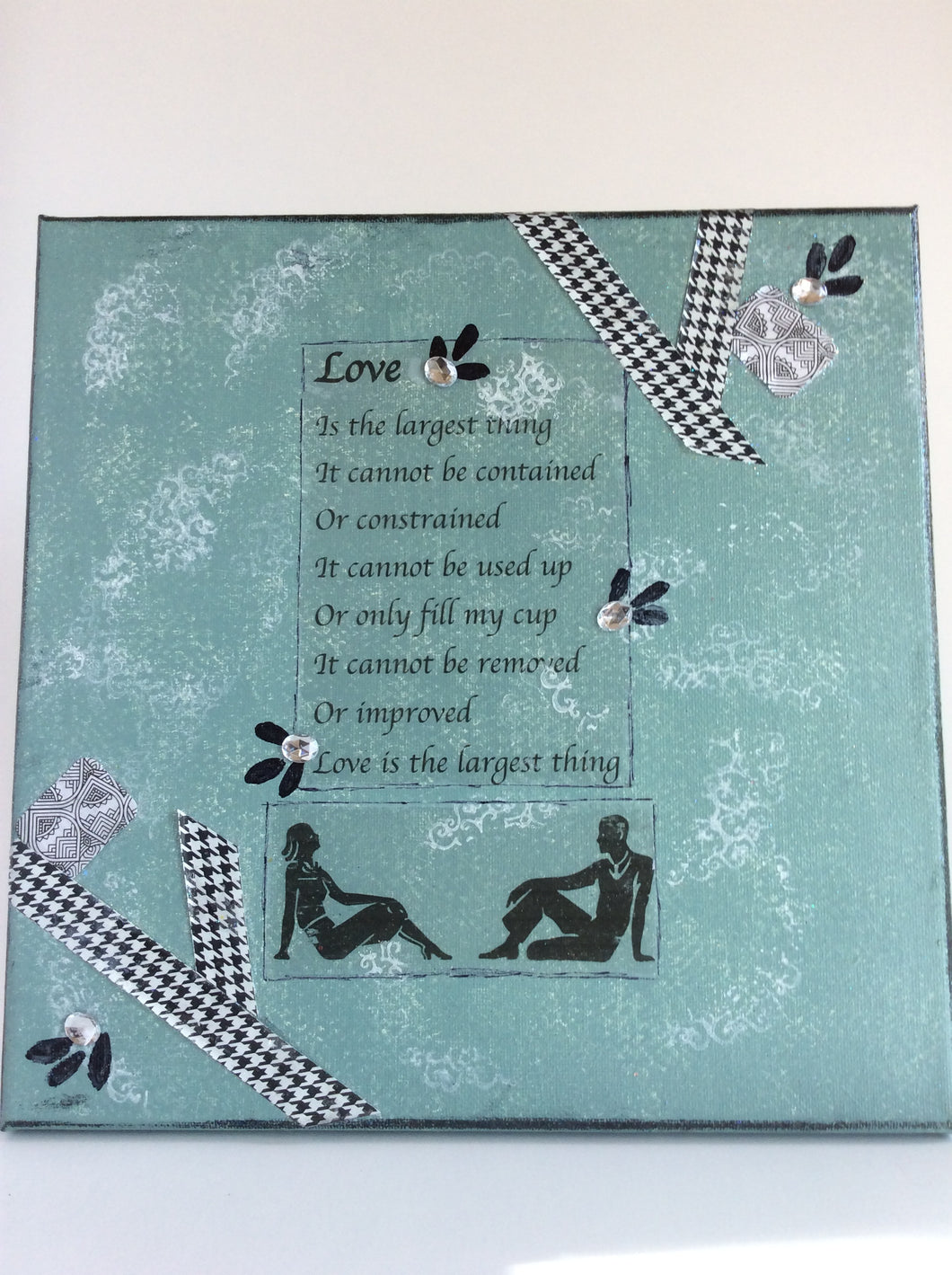 Love an original poem on canvas from poempieces.com in shadow teal