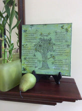 shelf display featuring Loves an original poem on canvas from poempieces.com in spring green
