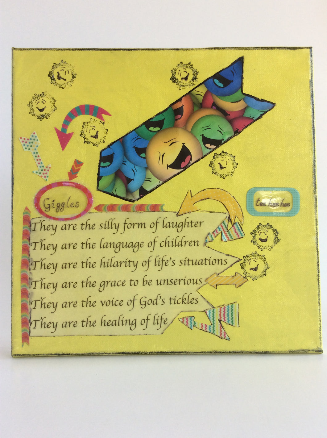 Giggles is an original poem on canvas about the laughter and joy of children or being child-like form poempieces.com shown in yellow