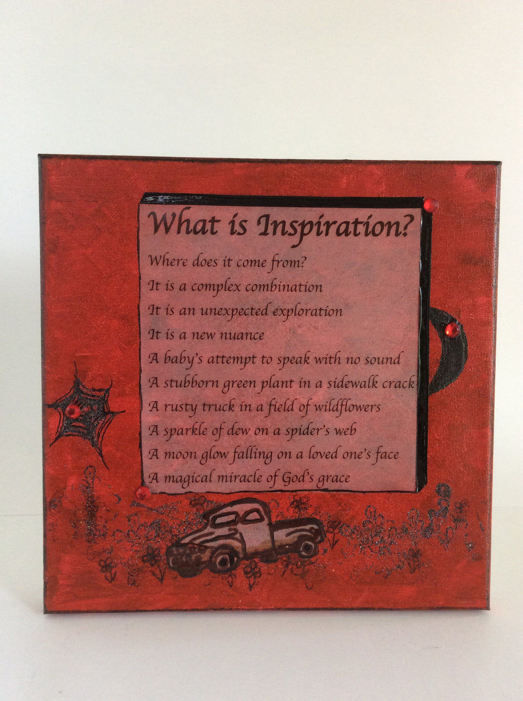 What Is Inspiration? is an original poem on canvas shown in red from poempieces.com