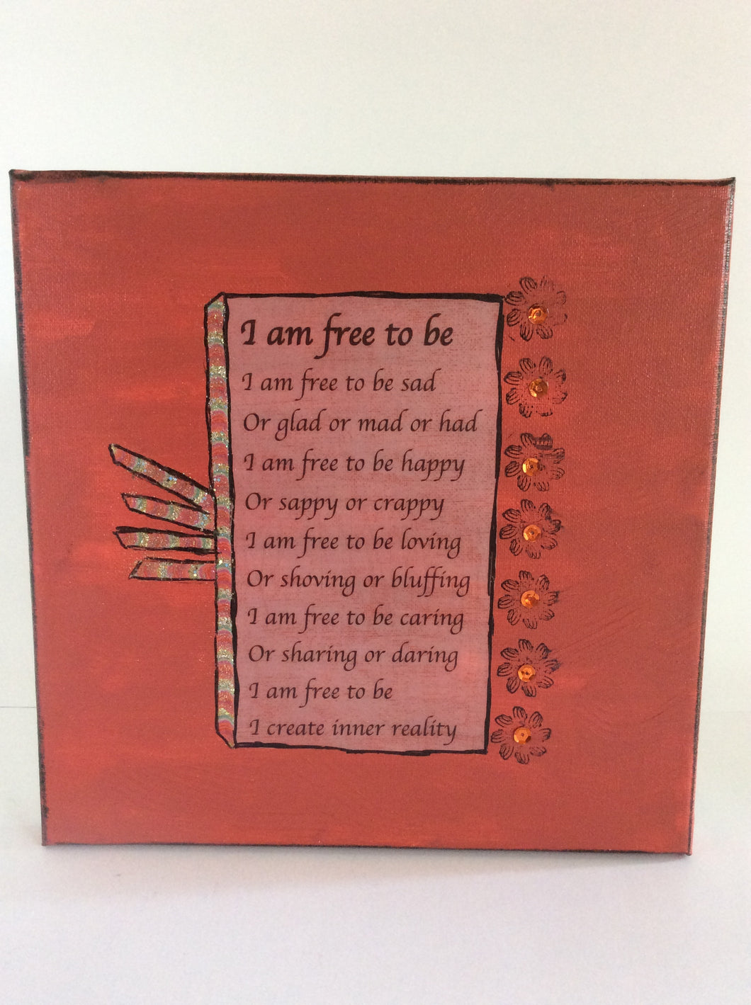 Free to Be is an original poem on canvas from poempieces.com in tangerine