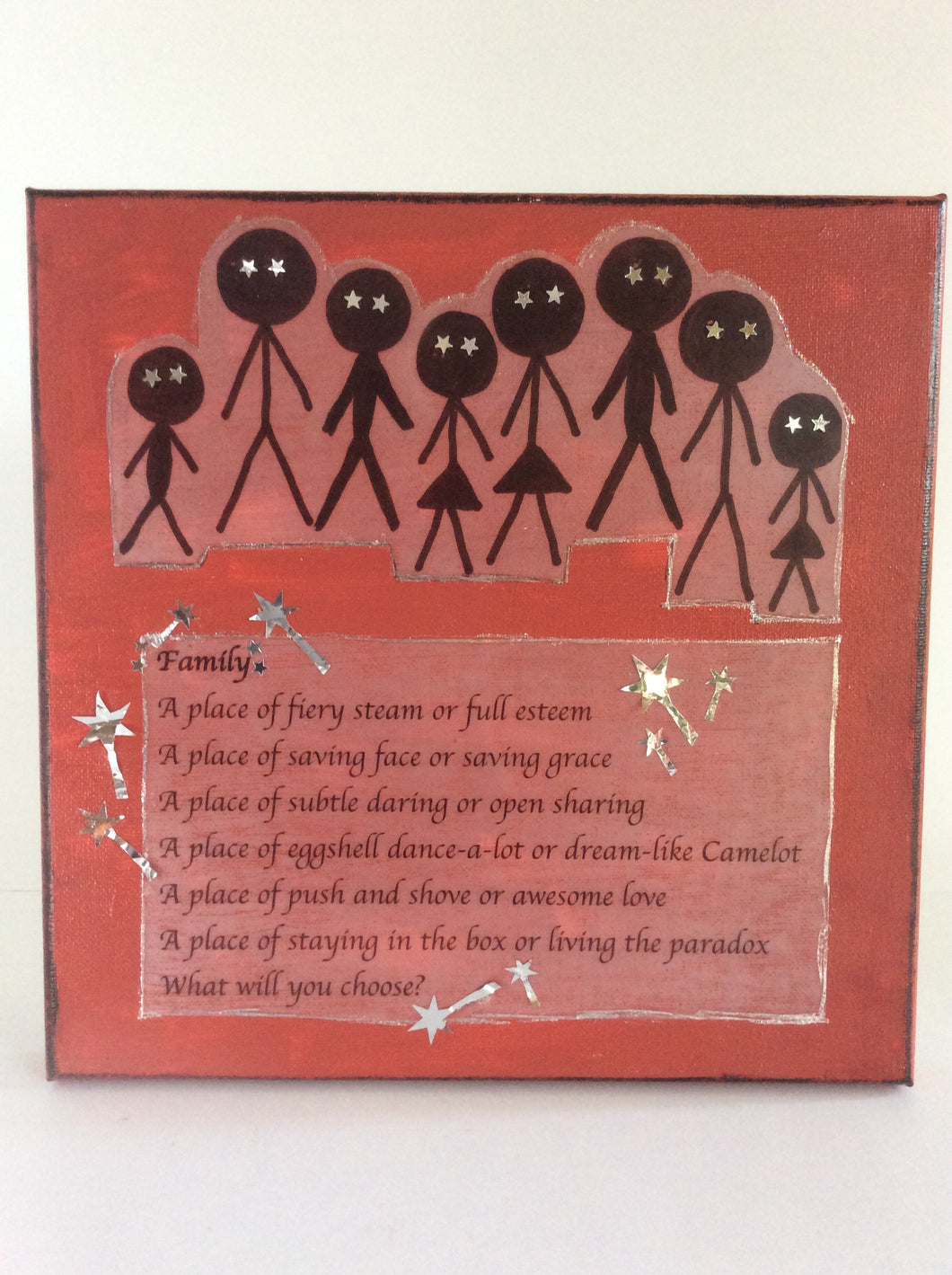 Family is an original poem on canvas from poempieces.com in tangerine