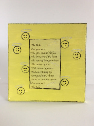 The Halo is an original poem on canvas from poempieces.com in yellow
