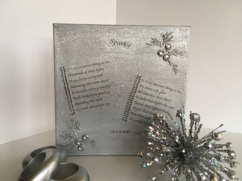 silvery, glittery canvas background with poem called