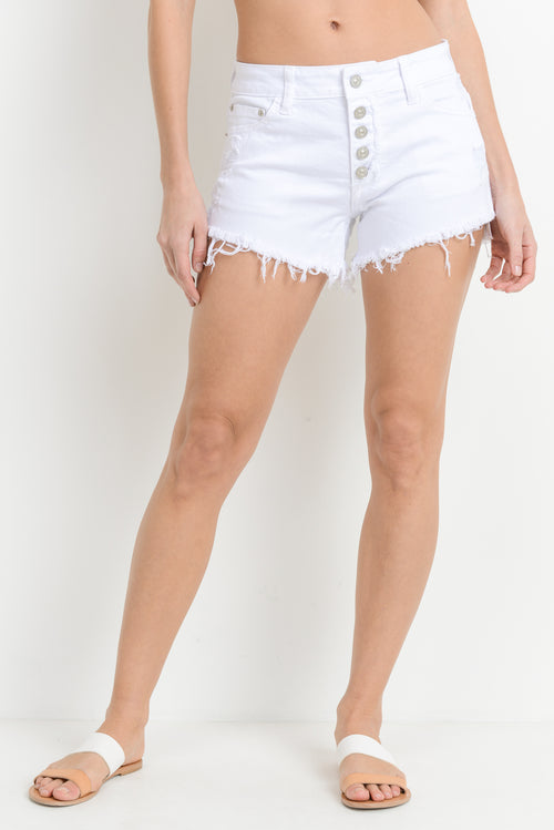 JUST USA-  High rise shredded shorts, White