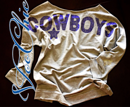 "Grey Dallas ""Cowboys Oversized Rhinestones"" Spirit Off the Shoulder Slouchy"
