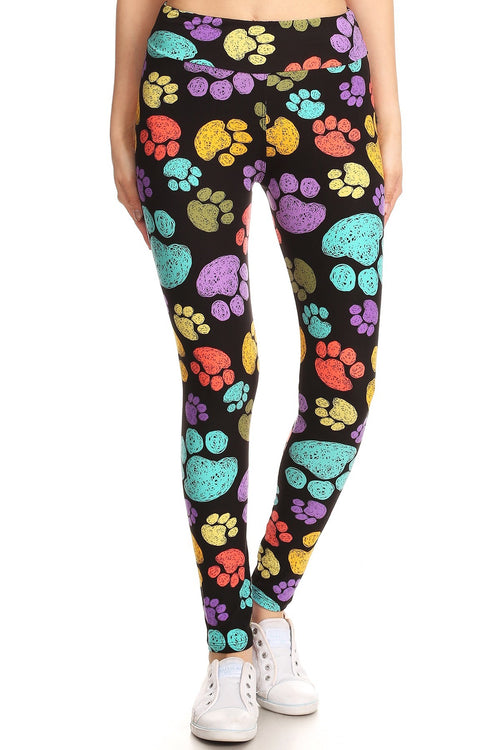 Colorful Paw Prints Yoga Pants