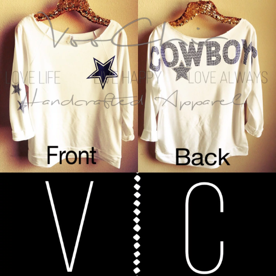 "White Dallas ""Cowboys Oversized Rhinestones"" Spirit Off the Shoulder Slouchy"